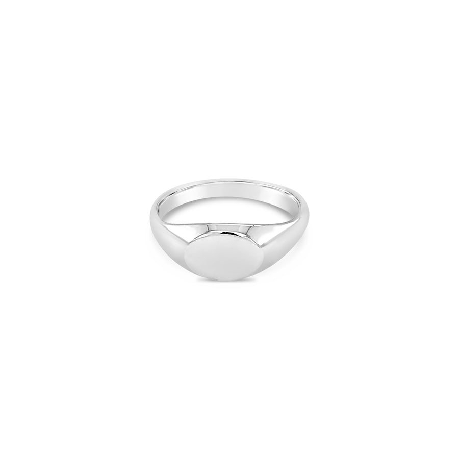 Small Oval Shaped Signet Ring Sterling Silver