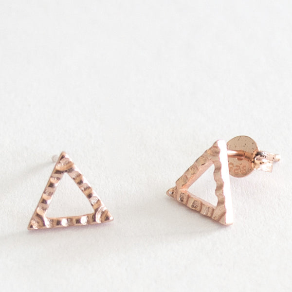 Crimped Triangle Stud - Rose Gold