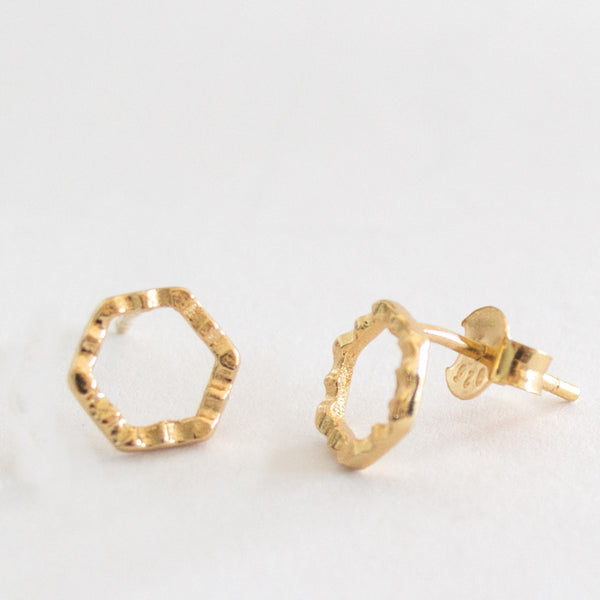 Crimped Hex Stud - Gold