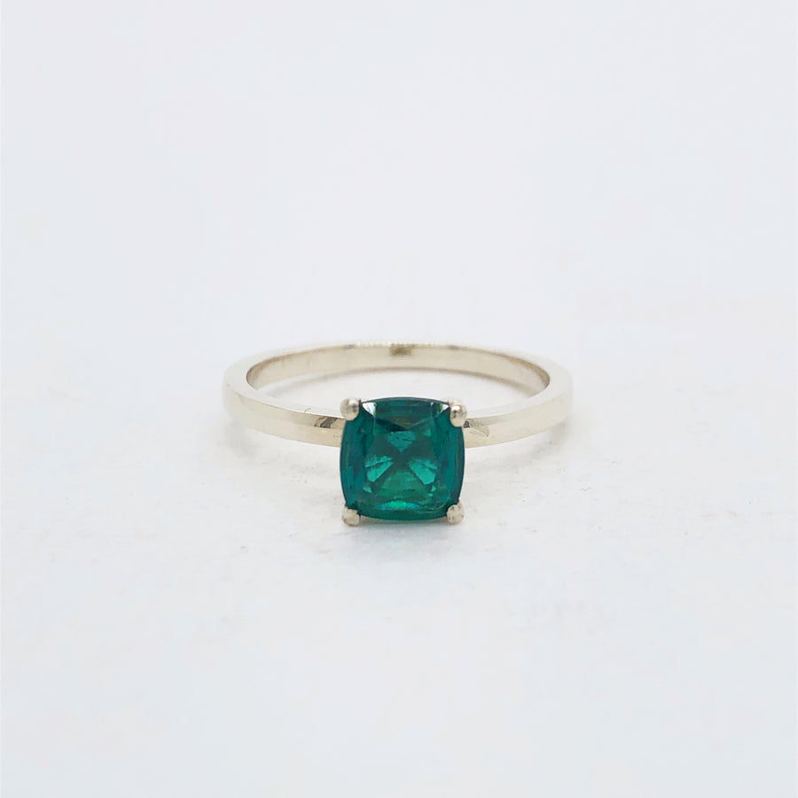 Frances Ring White Gold with Hydrothermal Emerald