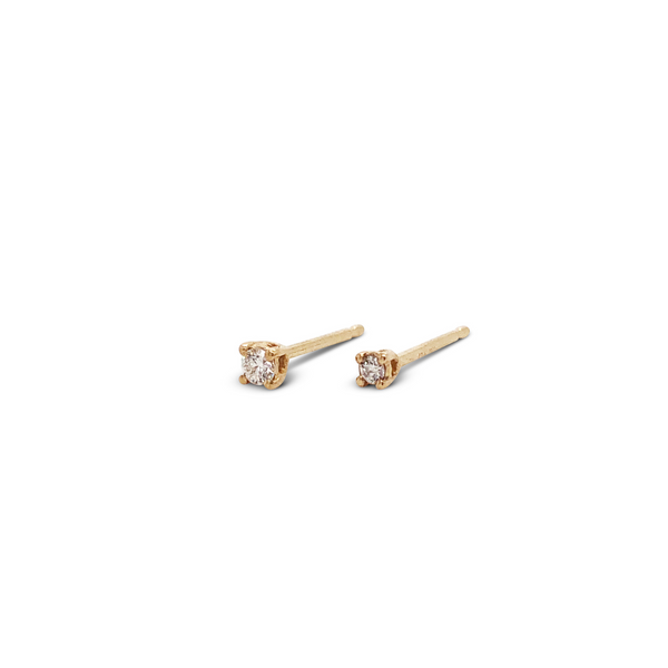Single Tiny Yellow Gold Diamond Stud