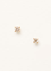 A front on image of a pair of 9ct yellow gold stud earrings with small diamonds