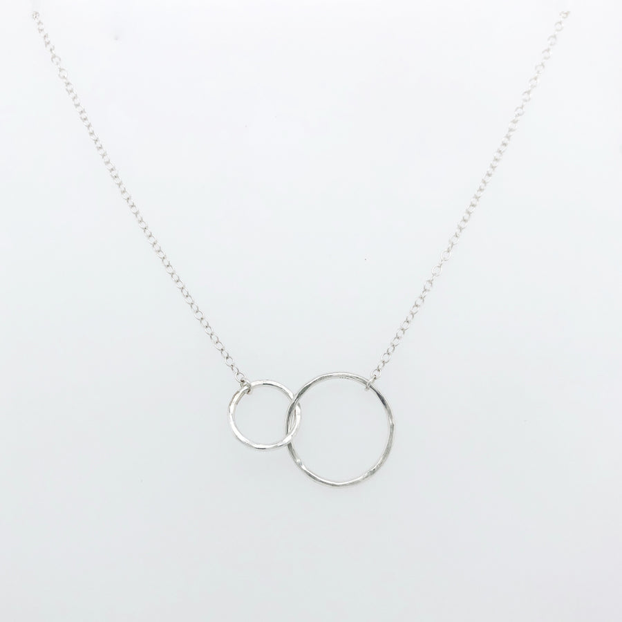 Double Circle Outline Necklace Silver