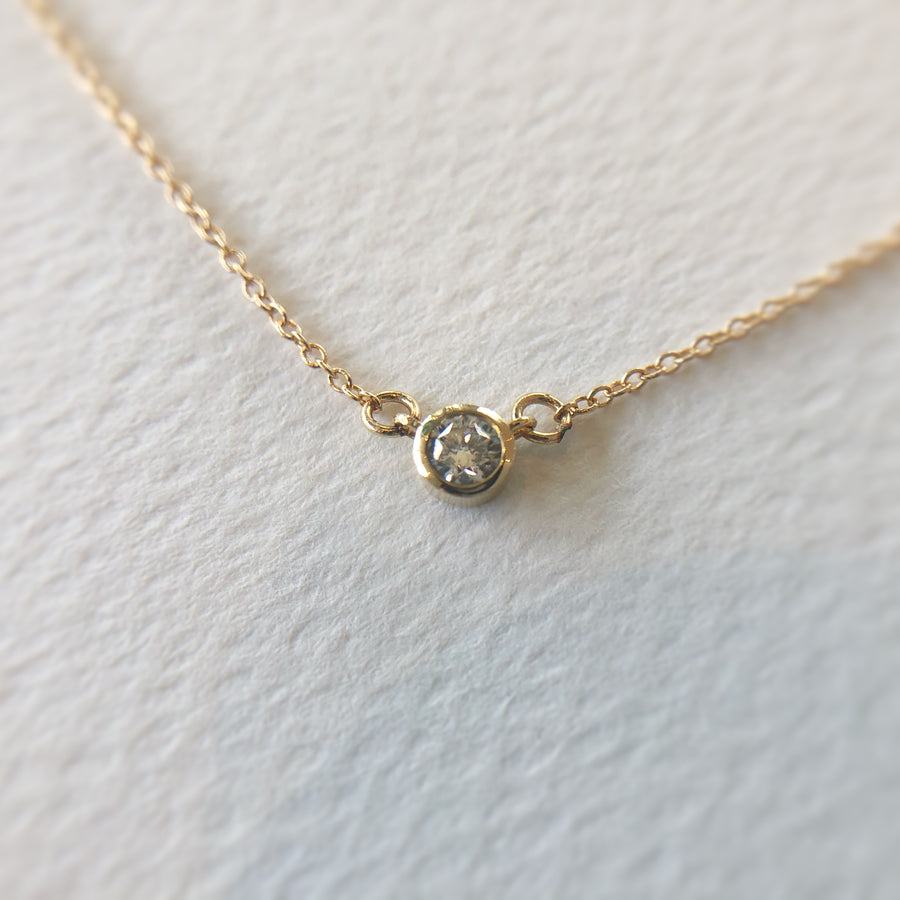 White Diamond Double Hung Bezel Necklace 14ct Gold