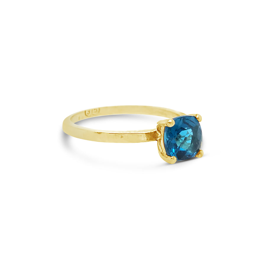 Frances Ring Yellow Gold with London Blue Topaz