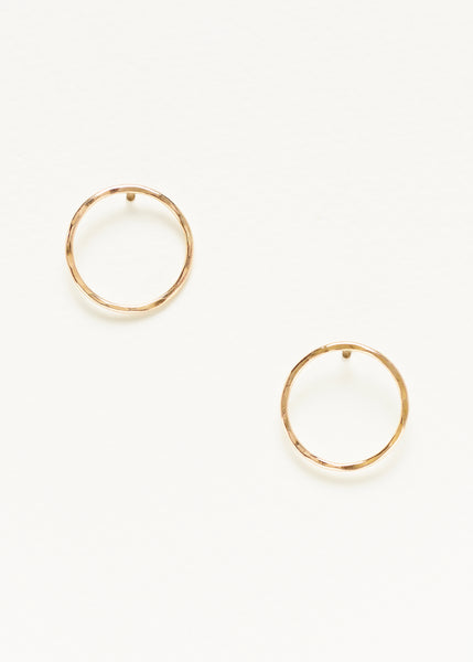 Hammered Circle Outline Studs - Gold