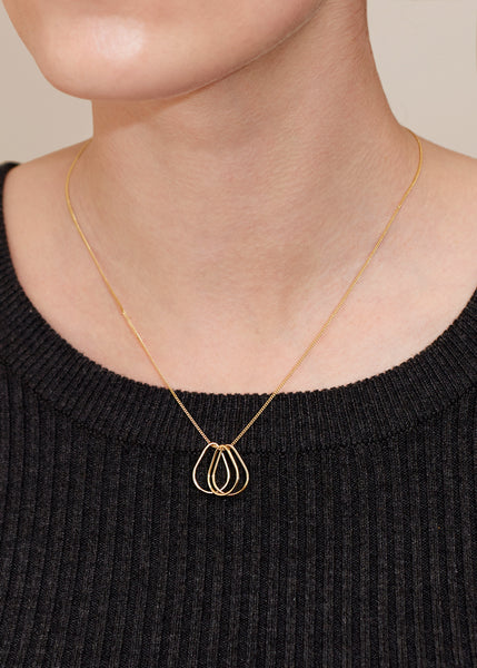 Tear Drop Outline Necklace - Gold