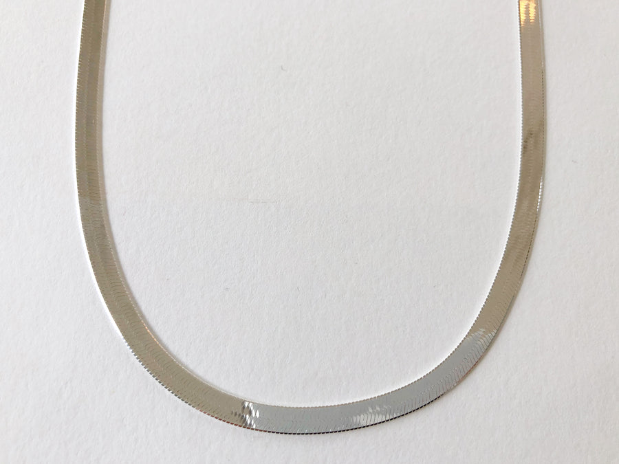 Herringbone Chain Necklace Silver