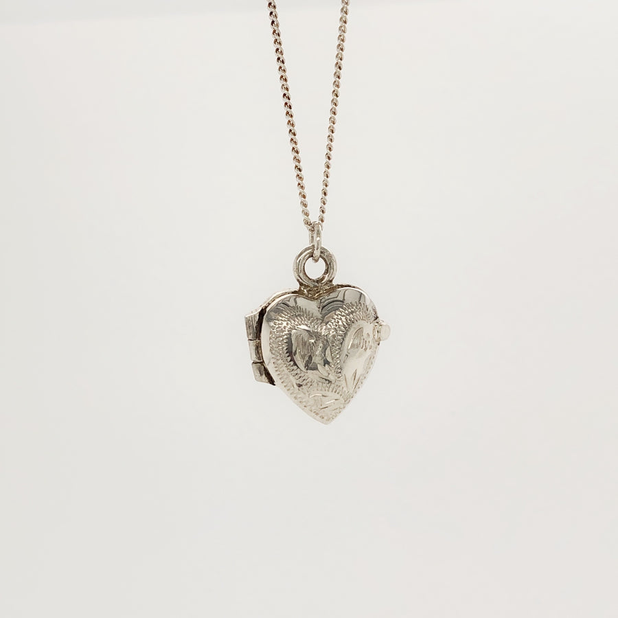 Heart Locket with Engraving Silver