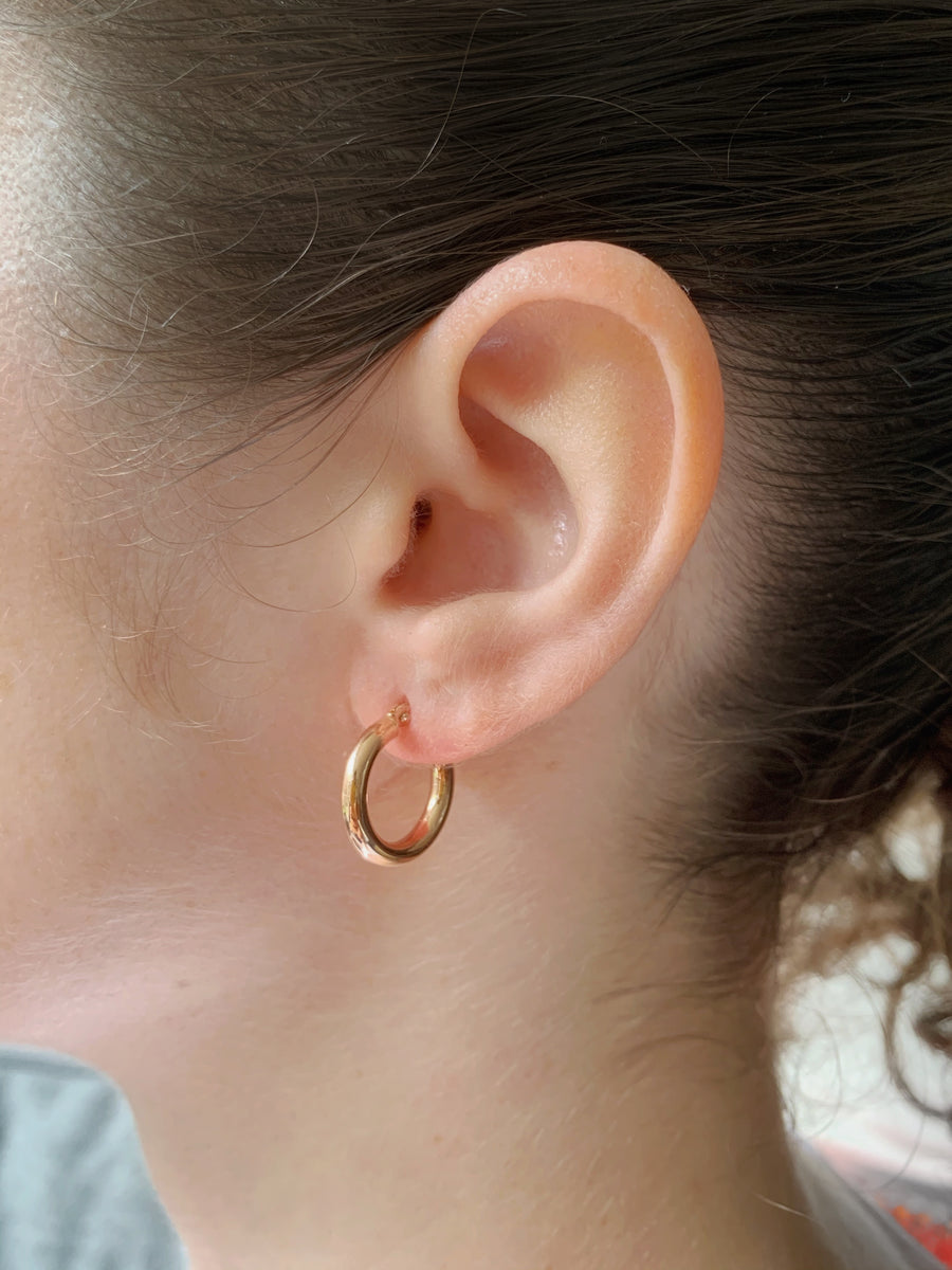 Small Plain Hoop Earrings 9ct Gold