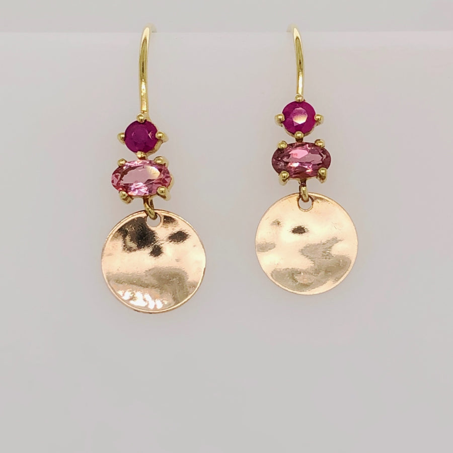 Hammered Disc Earrings with Ruby and Tourmaline