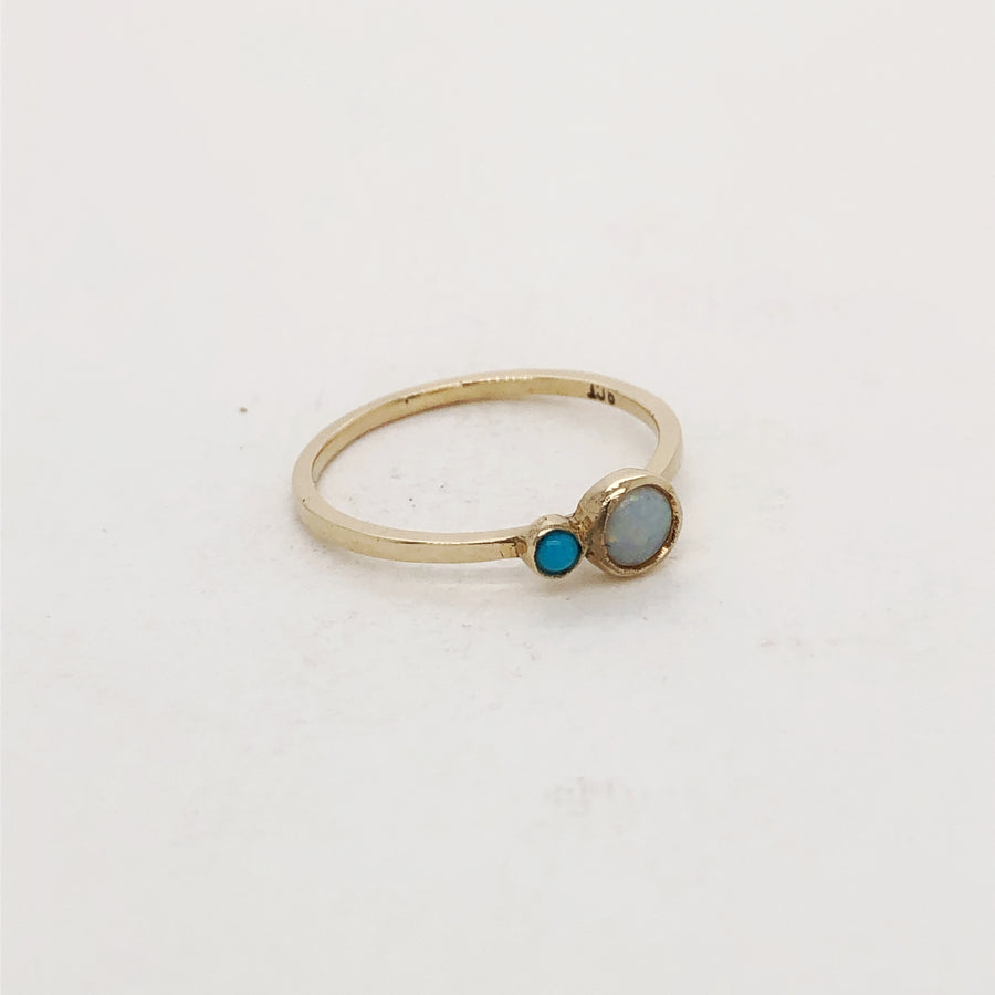 Opal and Turquoise Ring in Gold