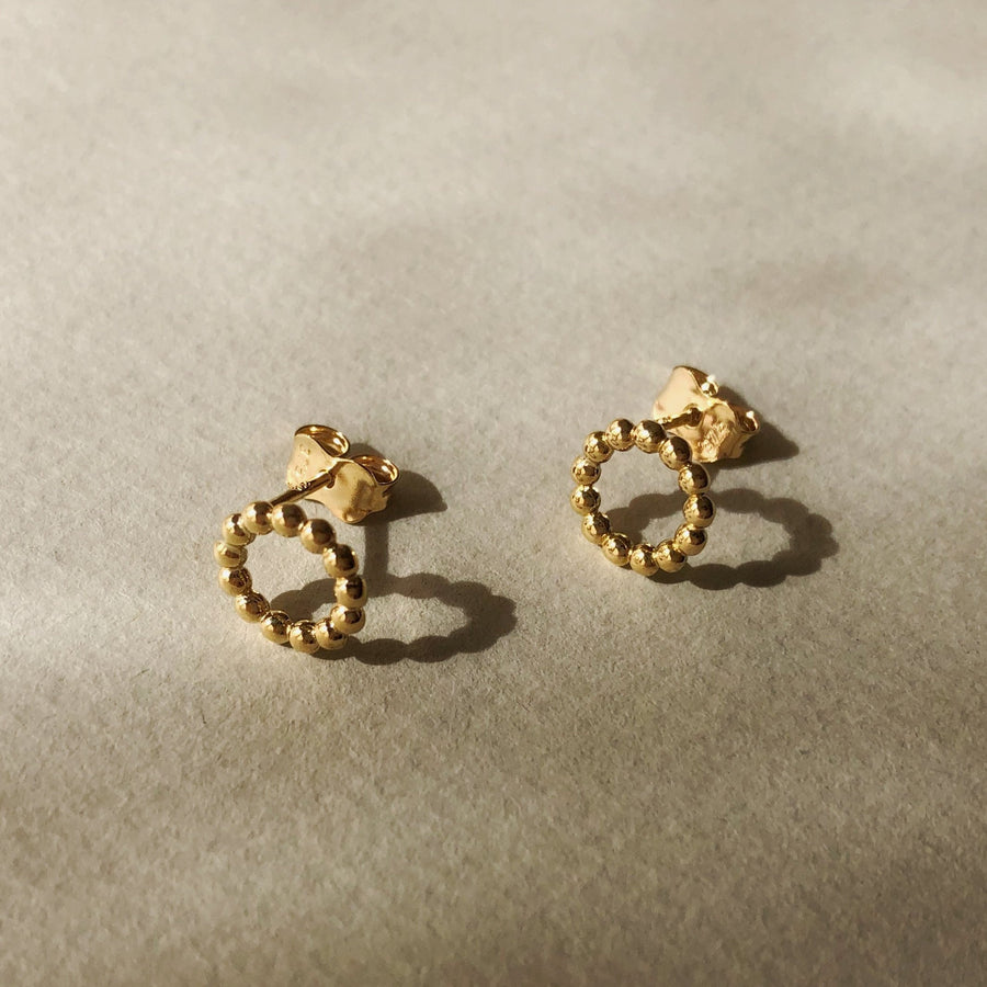 Dotted Circle Studs 9ct Gold