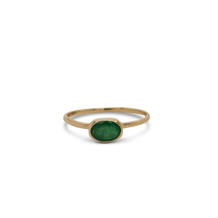 Lucia Ring Yellow Gold with Natural Emerald