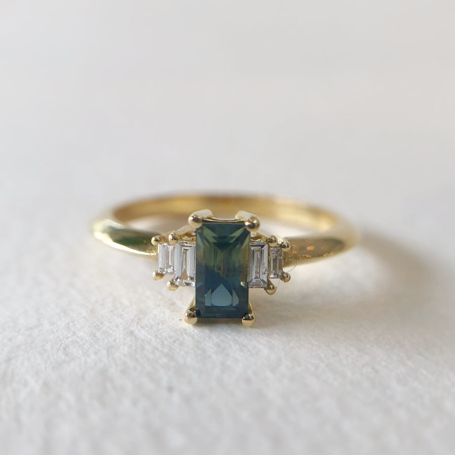 Madagascan Parti Sapphire II Ring with Diamonds