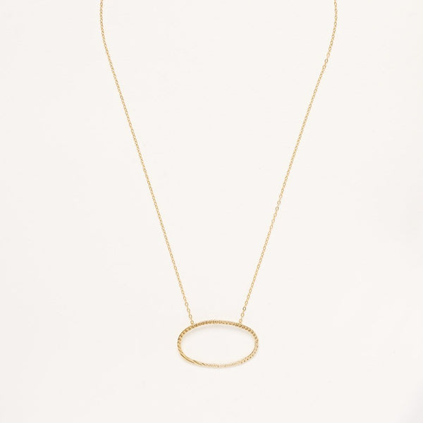 A Gold Plated 925 Sterling Silver Necklace with a Textured Oval Pendant Charm