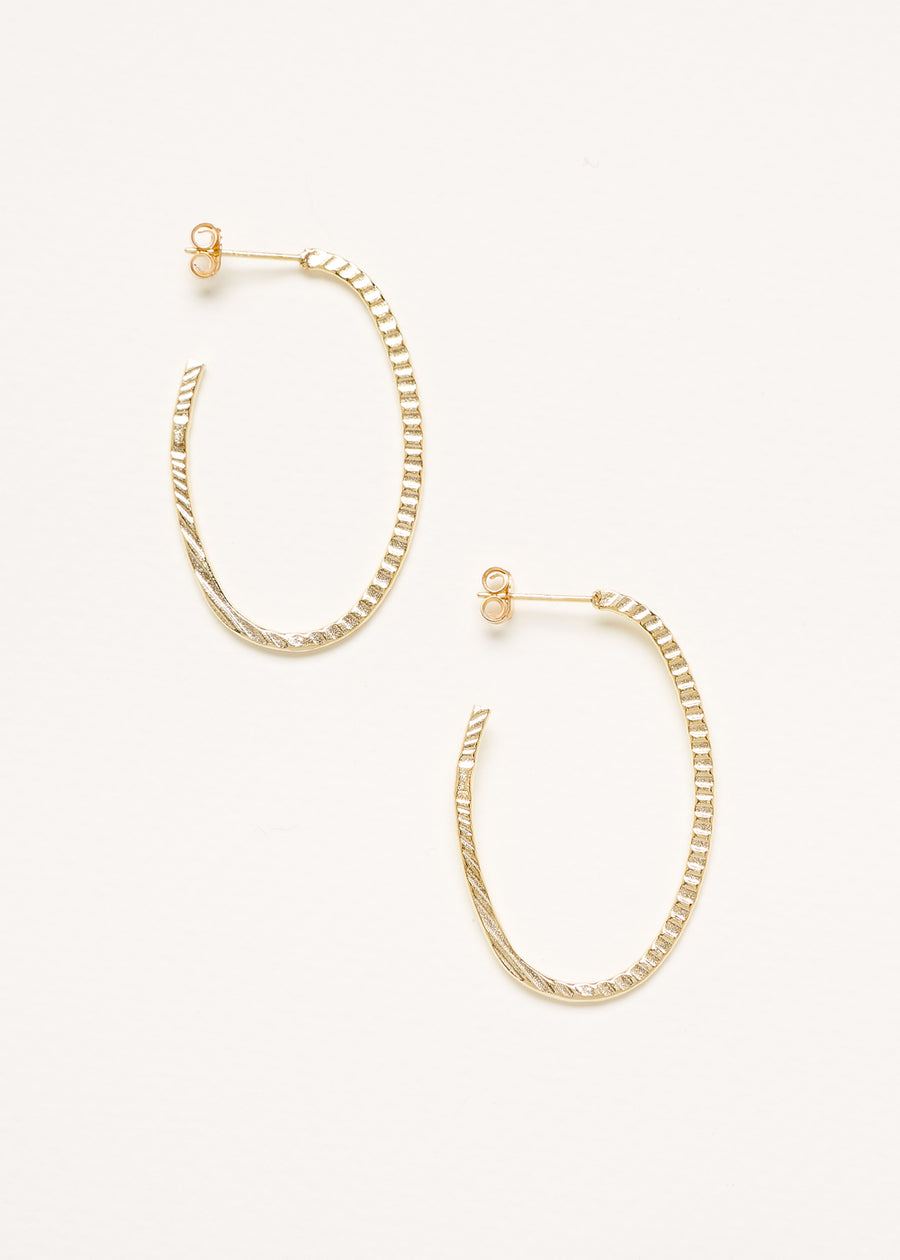 A pair of Yellow Gold Plated 925 Sterling Silver Hoop Earrings with Texture