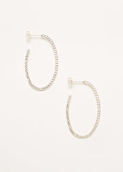 A pair of 925 Sterling Silver Hoop Earrings with Texture