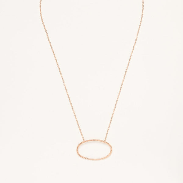 A Rose Gold Plated 925 Sterling Silver Necklace with Textured Oval Charm