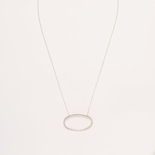 A 925 Sterling Silver Necklace with a Textured Oval Pendant Charm