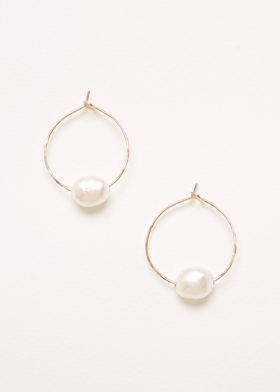 A pair of Gold Filled 925 Sterling Silver Hoop Earrings each with a Single Freshwater Pearl