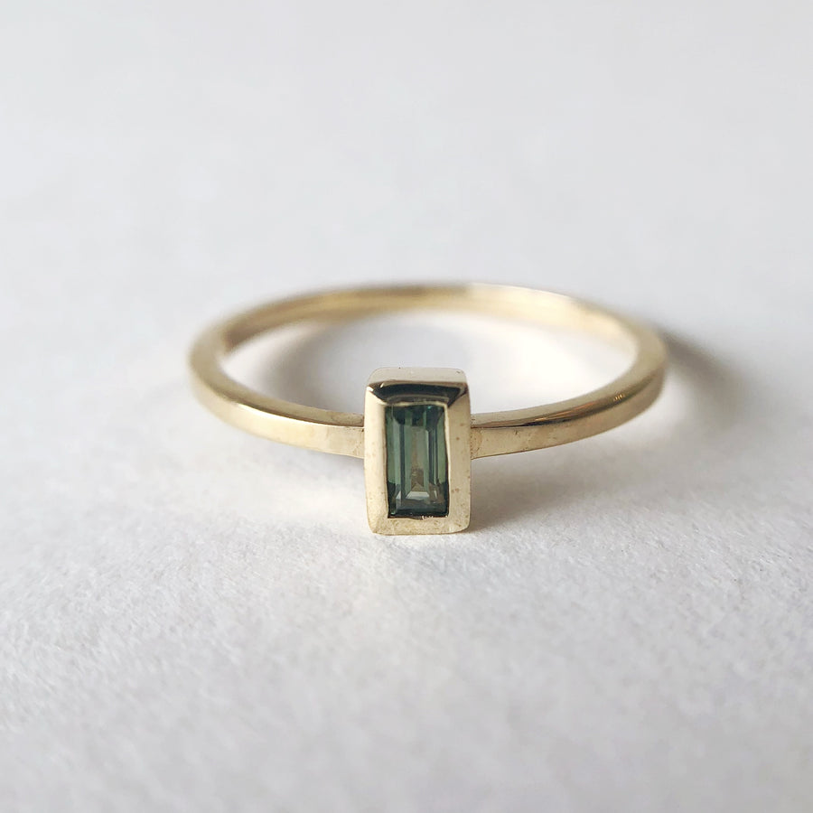 Petite Baguette Ring w Australian Parti Sapphire in Yellow Gold