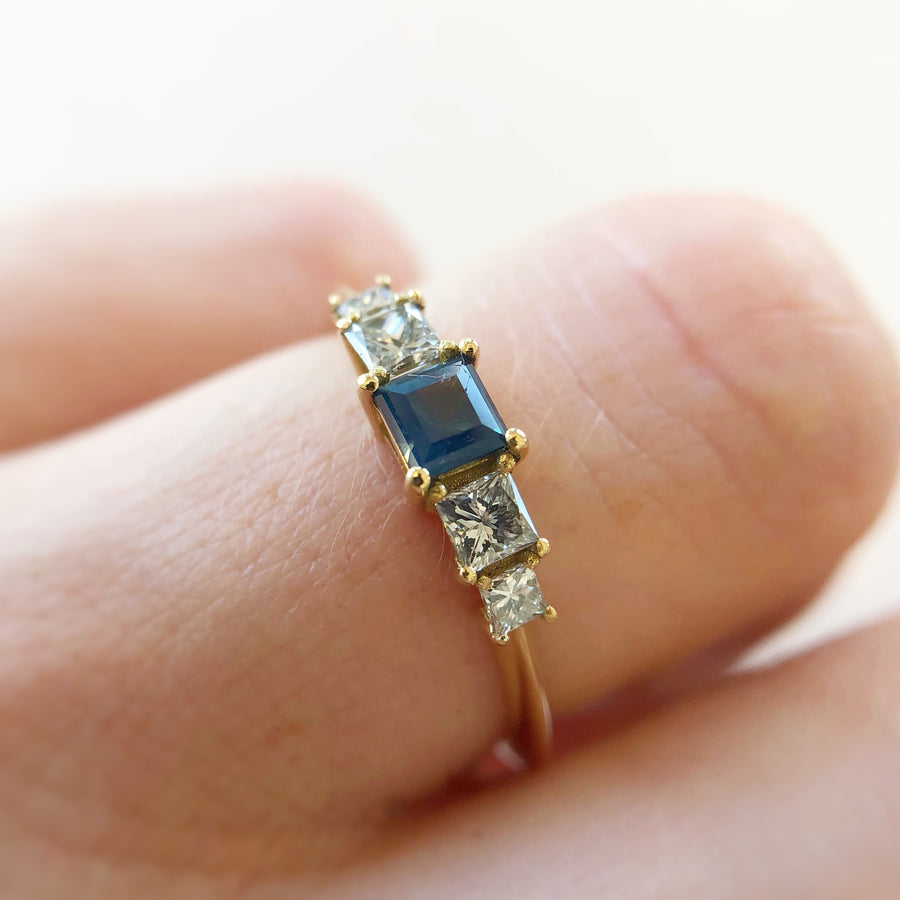 Petite Bebe Ring Australian Sapphire with Diamonds