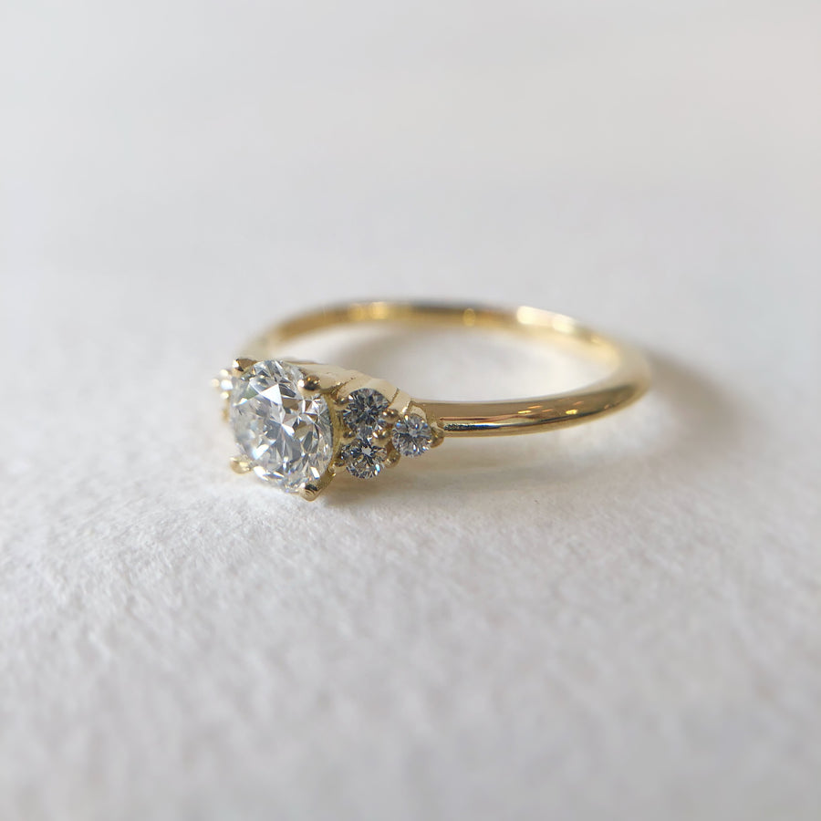 Petite Juliet Ring with White Diamonds in Yellow Gold