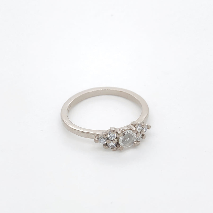 Rose Cut White Diamond Ring in 18ct White Gold