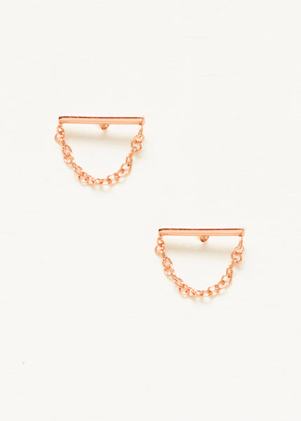 Bar Chain Studs - Rose Gold