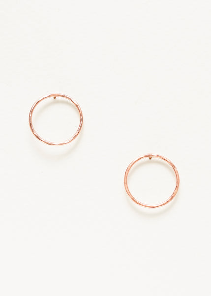 Hammered Circle Outline Studs - Rose Gold