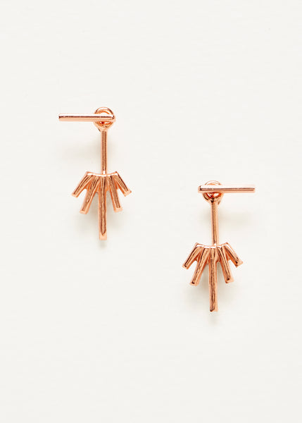 Starburst Jacket Earrings - Rose Gold