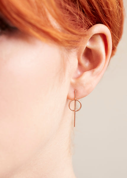 Intersecting Circle Earrings - Rose Gold