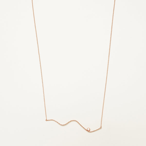 Horizontal Abstraction Necklace - Rose Gold