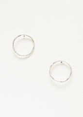 Hammered Circle Outline Studs - Silver