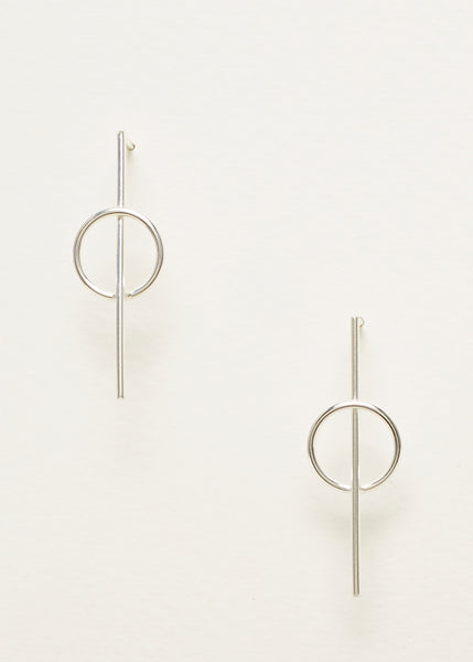 Intersecting Circle Earrings - Silver