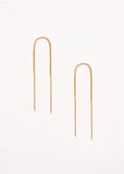 A pair of 9ct yellow gold thread earrings on a grey background