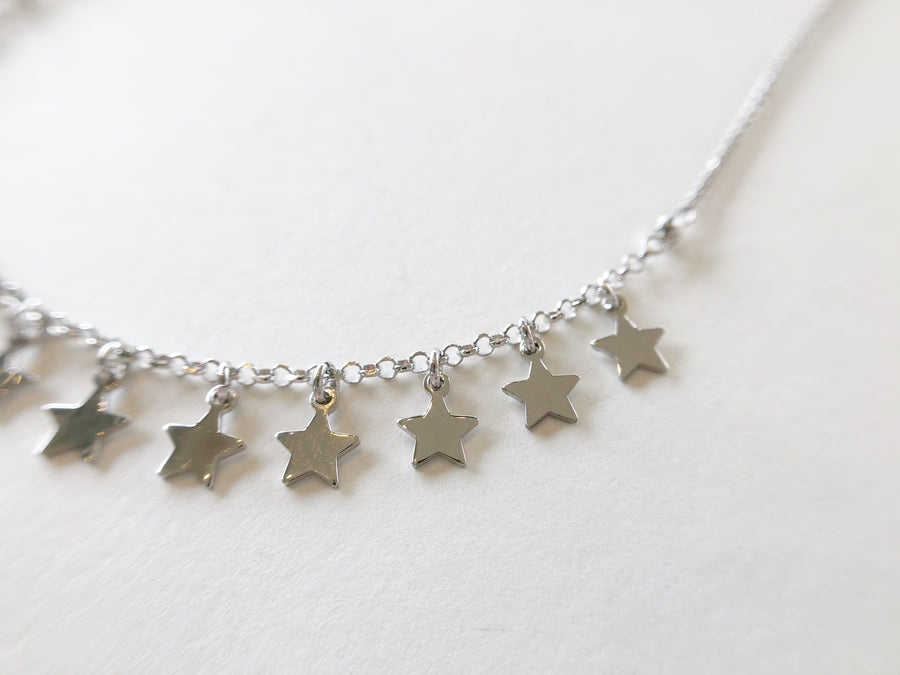 Star Drop Chain Necklace Silver