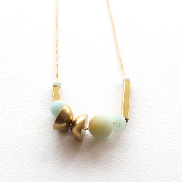 Amazonite Two Moon Necklace