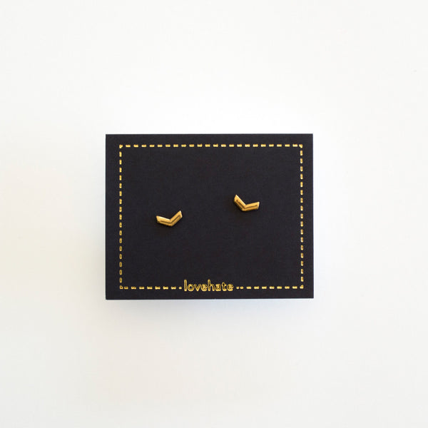 Little - Chevron Studs - Gold
