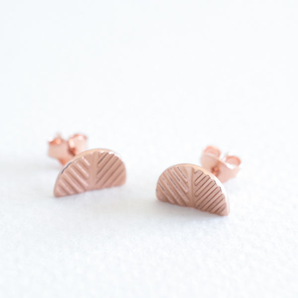Etched Studs - Rose Gold