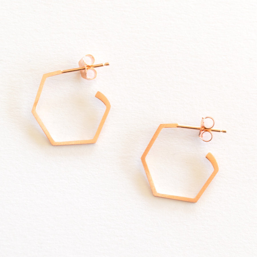 Everyday Hex Earrings - Rose Gold