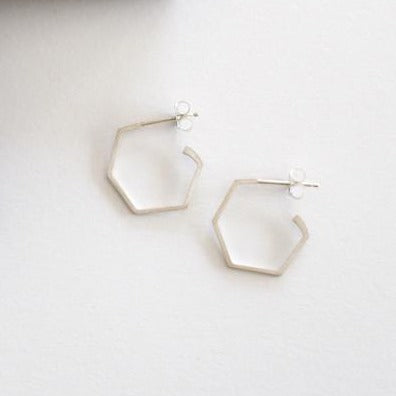Everyday Hex Earrings - Silver