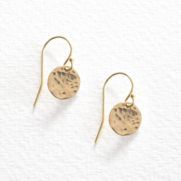 Hammered Disc Earrings - Gold