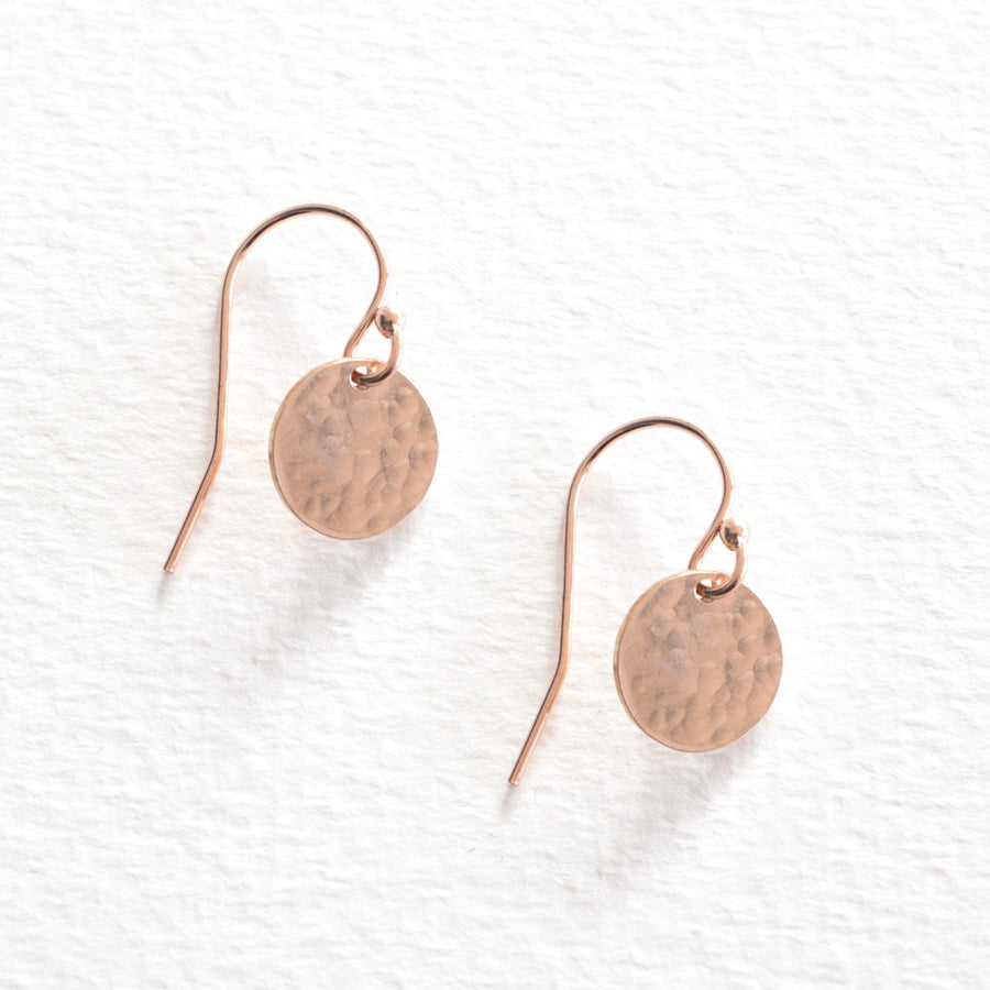 Hammered Disc Earrings - Rose Gold