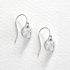 Hammered Disc Earrings - Silver