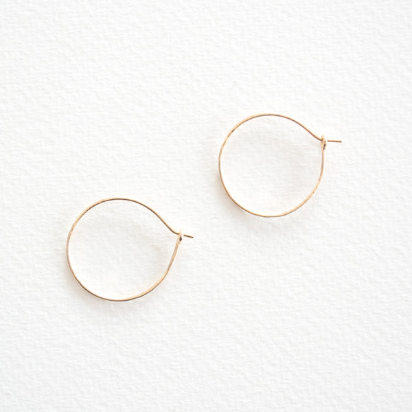 Hammered Hoop Earrings - Gold