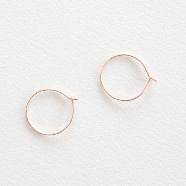 Hammered Hoop Earrings -  Rose Gold
