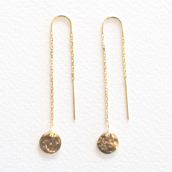 Hammered Disc Thread Earrings - Gold