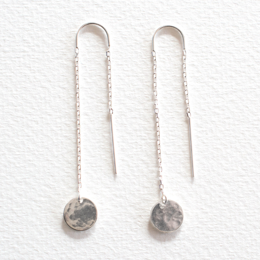 Hammered Disc Thread Earrings Silver Lovehate Australia